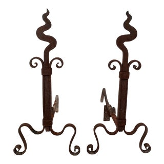 Arts and Crafts Period Wrought Iron Squiggly Andirons- A Pair For Sale