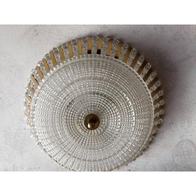 Mid-Century Modern 1950s Stejnar Austrian Crystal Flush Light Pendant For Sale - Image 3 of 11