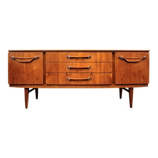 Beautility Mid-Century Modern Teak Bow-Front Credenza For Sale