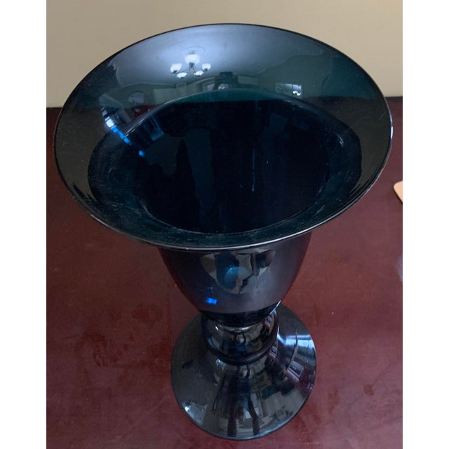 Blue Vintage Art Glass Blue Double Trumpet Ball Vase For Sale - Image 8 of 11