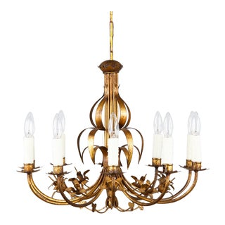 French Ten Light Gilded Metal Chandelier Circa 1940s