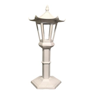 Asian Antique Cast Iron Garden Pagoda Standing Lantern For Sale