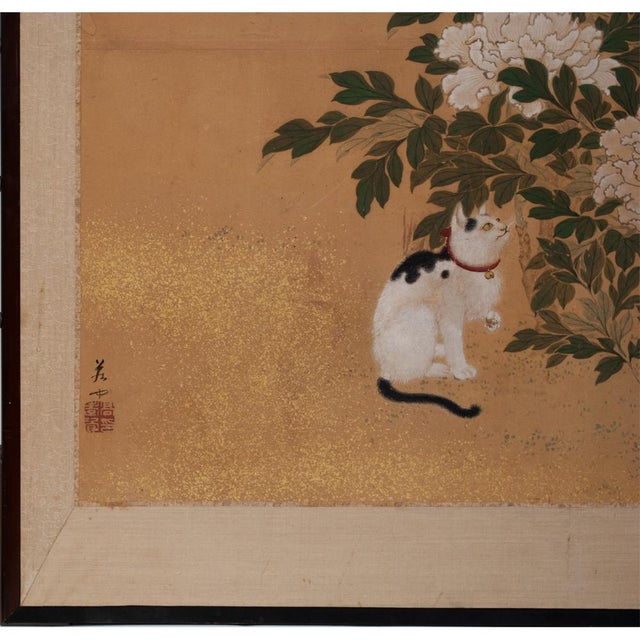 Brass 1880's Vintage Japanese Yamato-E Byobu Screen For Sale - Image 7 of 13
