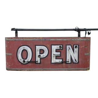 "1930's Vintage Double Sided ""OPEN"" Neon Sign For Sale"