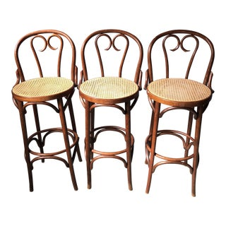 1960s Vintage Thonet Bentwood Cafe Bar Stools- Set of 3 For Sale