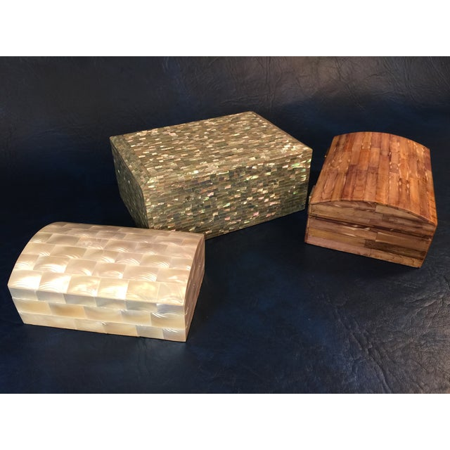 Tessellated Sea Shell Dresser Boxes - Set of 3 - Image 9 of 9