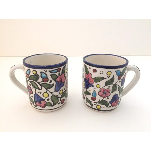 Vintage Jerusalem Pottery Armenian Floral Ceramic Hand Painted Mugs - a Pair For Sale - Image 5 of 9