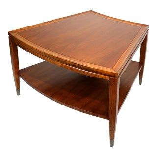 Mid-Century Modern Pie-Shaped Walnut & Brass Two-Tiered Side Table For Sale