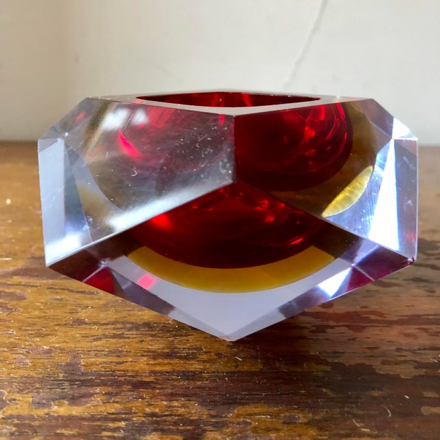 Vintage faceted sommerso Murano dish/ashtray by Mandruzzato.