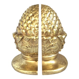 Pine Cones Gold Leaf Bookends - A Pair