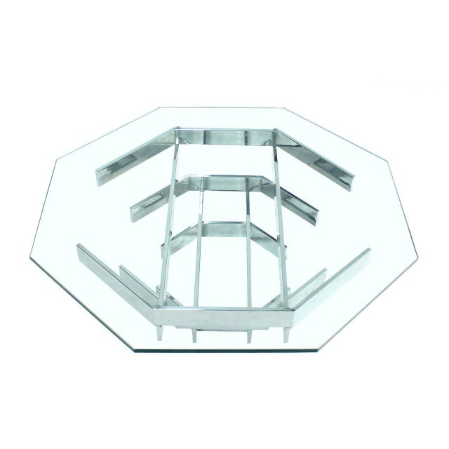 Mid-Century Modern Heavy Stacked Chrome Base Octagonal Coffee Table For Sale In New York - Image 6 of 6