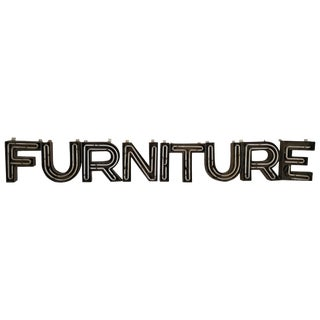 "Mid-Century Modern Steel Incased Neon Letters ""Furniture"" Sign For Sale"