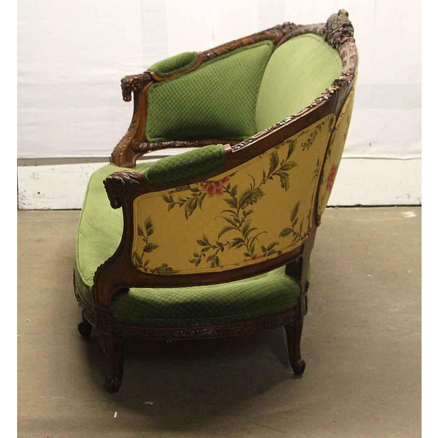 Carved Wood Frame & Green Upholstery Victorian Sofa For Sale - Image 12 of 13
