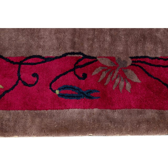 Vintage Purple Chinese Art Deco Wool Rug 9 Ft X 11 Ft 6 In. For Sale - Image 10 of 13