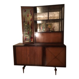 1960s Art Deco Solid Walnut Wood Bar/Entertainment Center For Sale