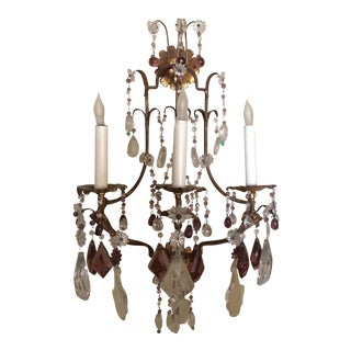 Pair of Italian Gilt Iron Clear and Amethyst Crystal Sconces