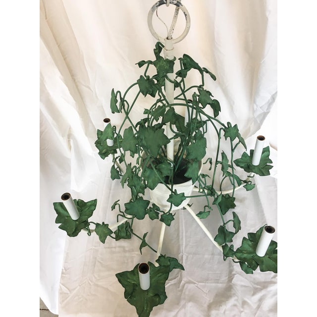 English Traditional Italian Tole Ivy Basket Six-Arm Chandelier For Sale - Image 3 of 8