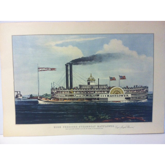 "This is a reproduction of a Currier & Ives color print that is titled ""High Pressure Steamboat - Mayflower"". The print is..."