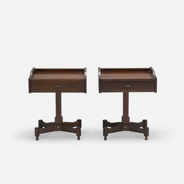 1960's Pair of Rosewood Nightstands by Claudio Salocchi for Sormani. These nightstands would work great in a Mid-Century...