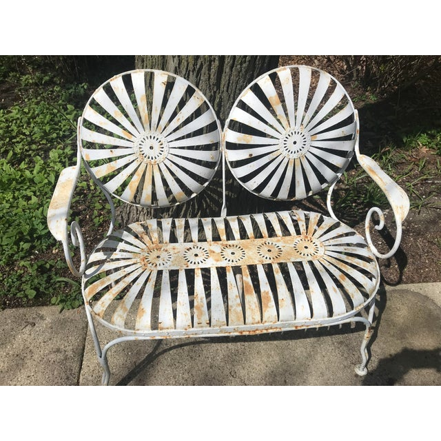Metal Francois Carre French Sunburst Garden Bench For Sale - Image 7 of 13