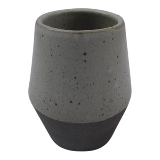Modern Wide-Mouth Two-Tone Toffee Ceramic Vase