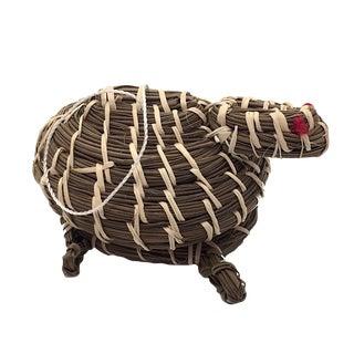 Coushatta Turtle Shaped Pine Needle Hanging Effigy Basket