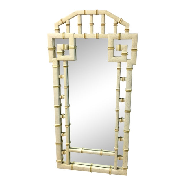Vintage LaBarge Style White and Gold Greek Key Faux Bamboo Mirror For Sale