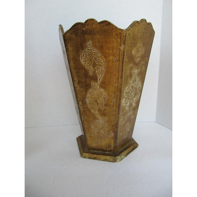 Florentia Gold Florentina Wood Wastebasket For Sale - Image 4 of 4