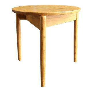 Mid Century Jens Risom Round Oak Side Table For Sale