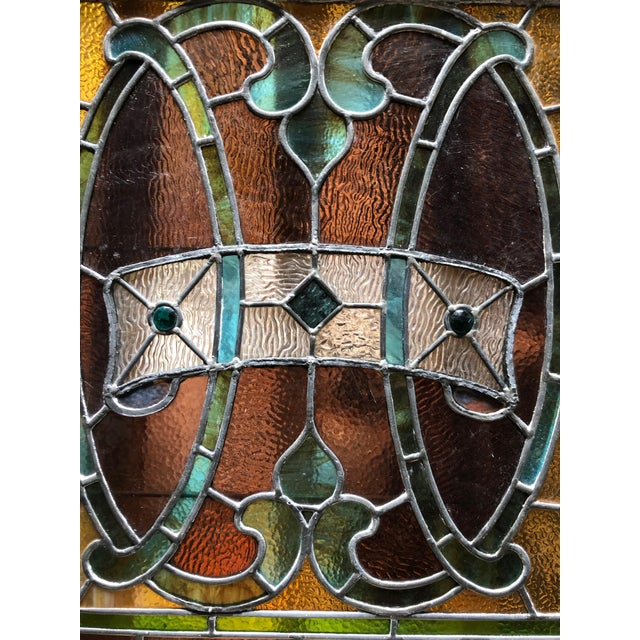 1960s 1960s Vintage Framed Square Stained Glass For Sale - Image 5 of 12
