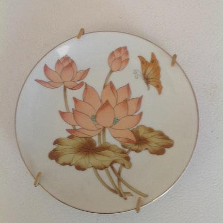 Vintage Fine China Lotus Fan- Shaped Trinket Dish & Collectible Plate - A Pair For Sale - Image 5 of 6