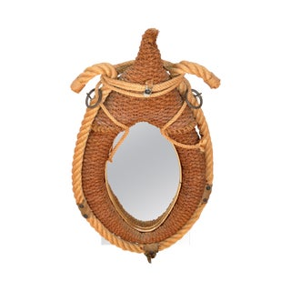 Audoux Minet Style Beige Oval Wall Mirror Nautical French Provincial Rope & Jute For Sale