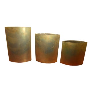 Vintage 1970's Signed Gabriella Crespi Brass Pillow Vases - a Set of Three For Sale
