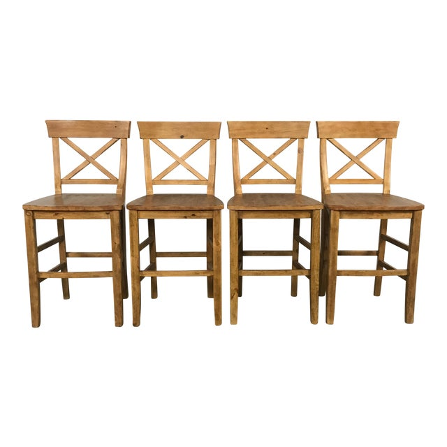 Rustic Pottery Barn Bar Stools - Set of 4 - Image 1 of 11