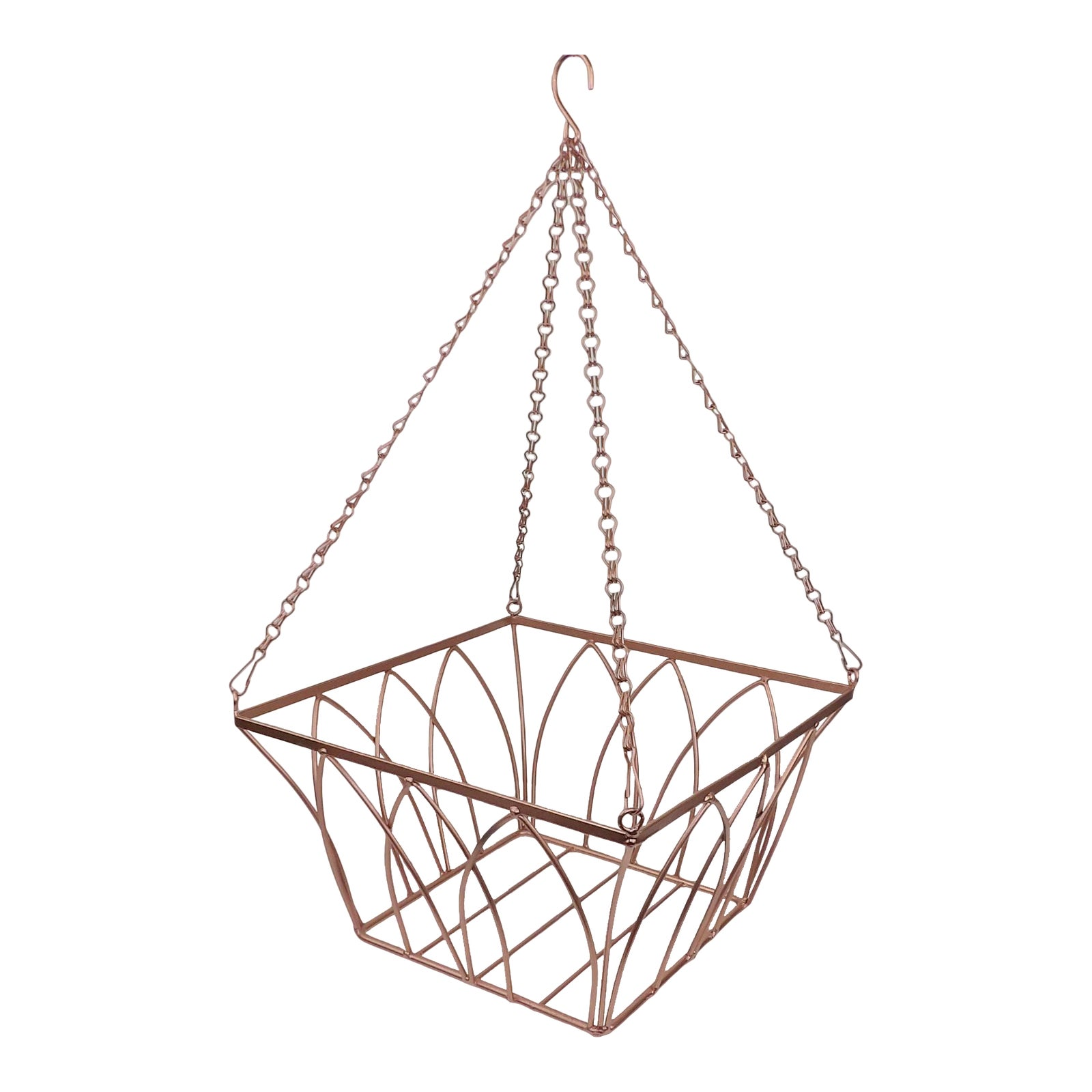 Vintage Rose Gold Copper Wire Hanging Planeter Fruit Basket | Chairish