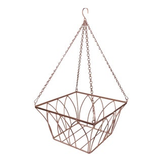 Vintage Rose Gold Copper Wire Hanging Planeter Fruit Basket