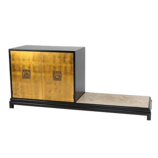 RENZO RUTILI CABINET WITH BENCH IN GILT, BLACK LACQUER AND TRAVERTINE For Sale
