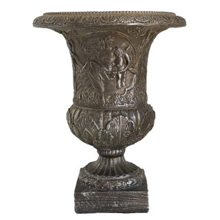Table Top Urn With Silver Grey Patina For Sale