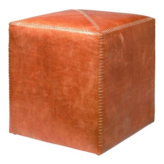 Buff Leather Square Stitched Ottoman