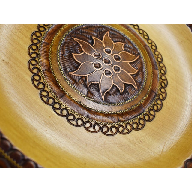 Vintage Hand Carved Wooden Plate with Inlaid Brass and Copper For Sale - Image 4 of 6