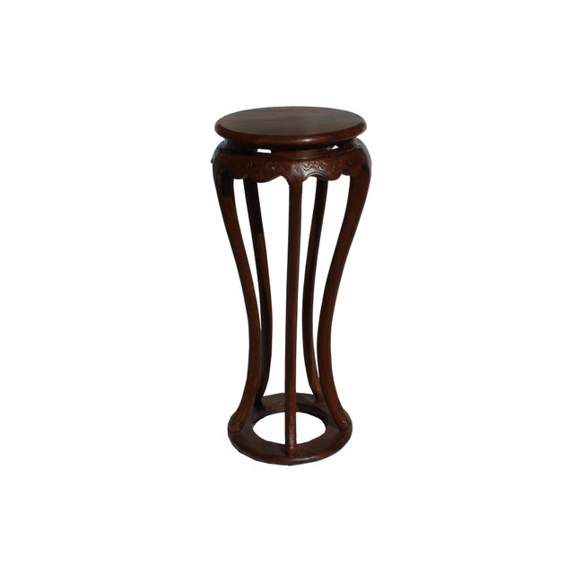 Chinese Brown Tall Round 5 Legs Plant Stand Pedestal Table For Sale In San Francisco - Image 6 of 7
