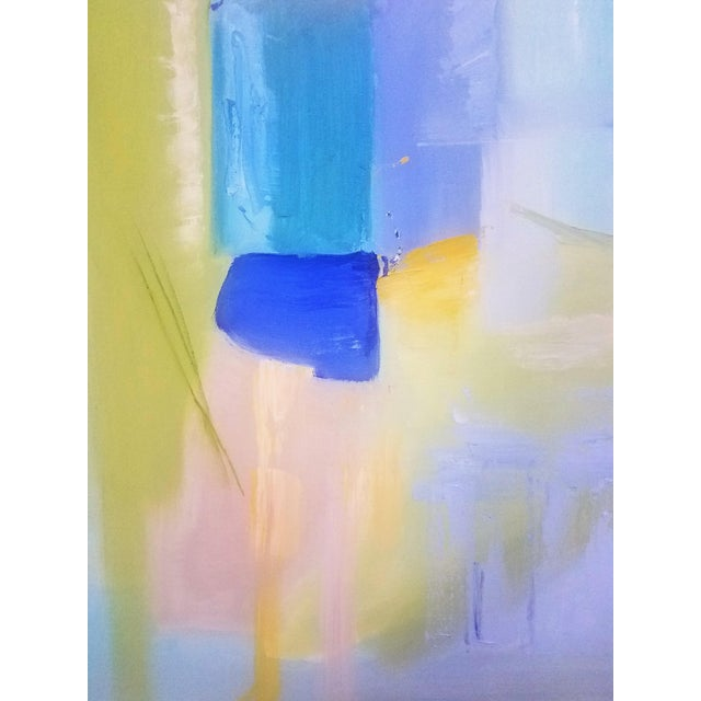 """Abstract Contemporary Christine Frisbee """"Turquoise Door"""" Oil on Canvas Painting For Sale - Image 3 of 7"""