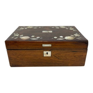 Antique Rosewood Stationery Box With Fine Inlaid Mother-Of-Pearl Flowers C. 1840 For Sale