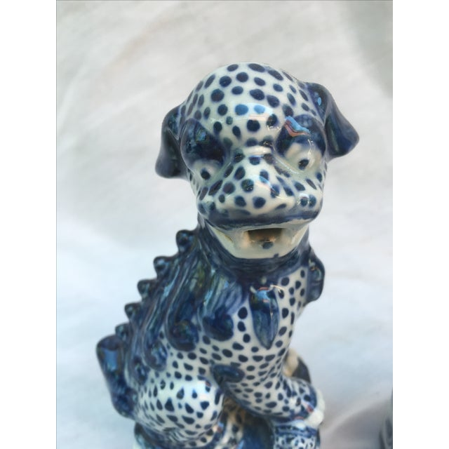 Blue & White Foo Dogs - A Pair - Image 3 of 9