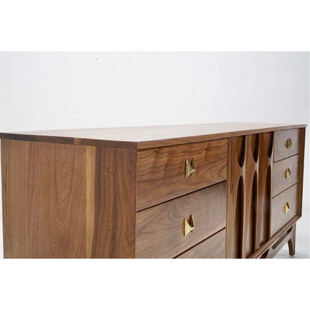 "2010s Mid Century Walnut Brass ""Brasilia"" Sideboard Credenza For Sale - Image 5 of 7"