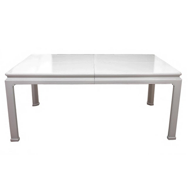 """Henredon ming style table lacquered white. The glossy white frame is constructed of acrylic with a shallow """"tile"""" square..."""