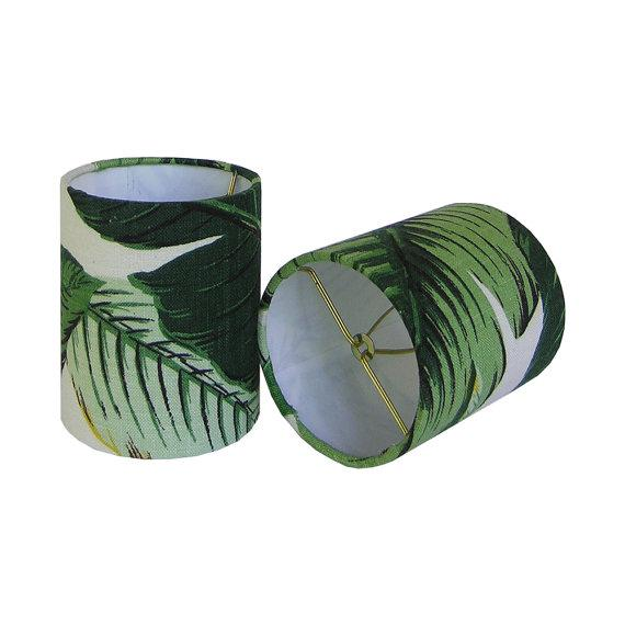 New, Made to Order, Drum Chandelier or Sconce Shades, Tommy Bahama Palm, Set of Two - Image 2 of 2
