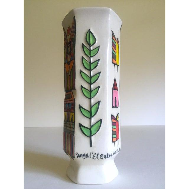 Mid-Century Modern Vintage Mid Century Modern El Salavdor Rare Art Pottery Hand Painted Signed Angel Vase For Sale - Image 3 of 13