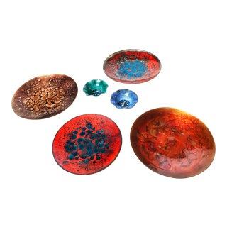 Vintage Enamel on Copper Art Dishes - Set of 6
