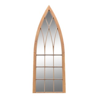 Antique Arched Church Window Architectural Wall Mirror For Sale